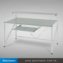 Taiwan cheap tempered glass long study computer table desk side table