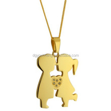 Stainless Steel Gold and Silvery Color Kissing Boy and Girl Love Pendant Necklace Jewelry