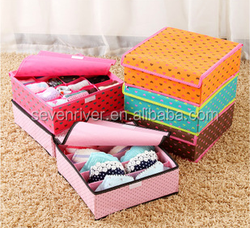 Non-woven fabric covered multi-functional foldable underwear storage box 30*30*12cm Tested real good quality
