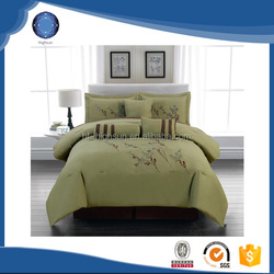 2015 wholesale patchwork embroidery bedding set 7pcs sage