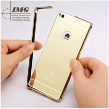 2015 new products Mirror electroplated case for P8, for Huawei P8 case mirror back case hybrid Metal bumper