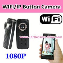 h.264 1080p hd wifi button camera support P2P/IP/Iphone/android, video recording, motion detection