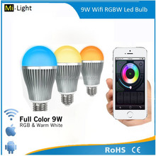 2.4g RF wireless ios wifi milight 4-zone touch remote control rgbw 9w E27 led light bulb and smart home furniture light iphone