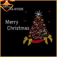 Bling Iron on Christmas Tree Rhinestone Motif Hot Fix Design for T shirts