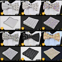 Colorful Cotton Printing Pocket Square Pre Tied Bow Tie and Handkerchief Set