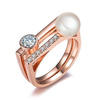 new product jewelry pearl ring with real pear for girl, pearl ring designs for girls