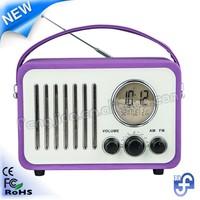 Retro alarm clock radio with headphone jack/earphoes slot