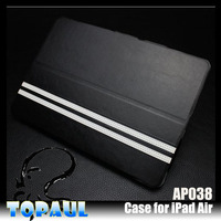 Custom design black new products for apple ipad air rock case, Smart Wake Sleep Leather Flip Case for iPad Air