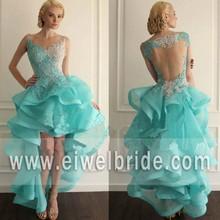 Hot sale scoop neck back see through applique short front long back prom dress