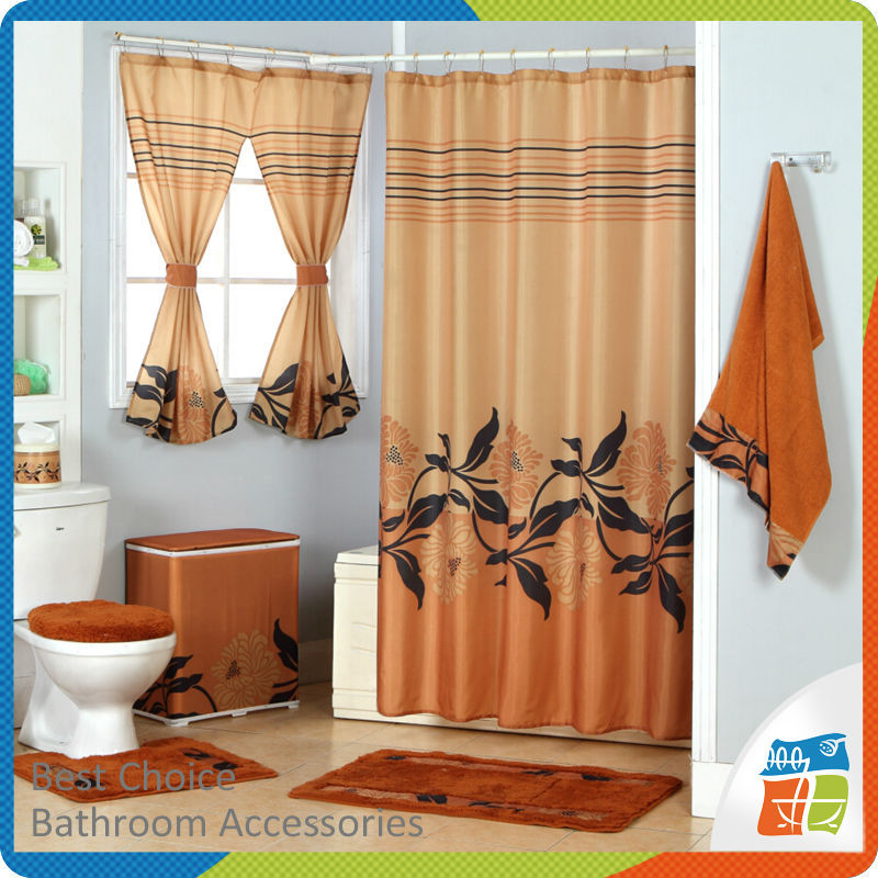 Polyester Shower Curtain With Matching Window Curtain - Buy Shower ...