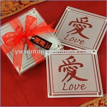 Asian Love Glass Coasters Wedding home decor Favors gift