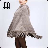 Factory direct wholesale price imported mink knitted poncho with fur cape and tassel