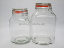 Clip Top Jar / Storage Preserve Airtight Glass Square Jar