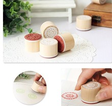 30*25mm Wooden Rubber Stamp Round Shape, Handwriting Floral Flower Craft Wood Stamps