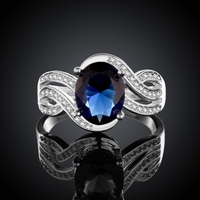 Online sale sterling silver ring with saphire blue round stone