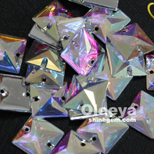 factory wholesale 16mm 22mm Sewing crystals crystal AB square flatback resin sew on rhinestones for women bags