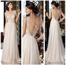 WTN15285 Garden Bridal Gowns Beadings A line Tulle Open Back Hang Down Beads Wedding dresses