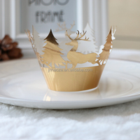 cake Christmas tree decoration laser cut cupcake wrappers wholesale DG-9