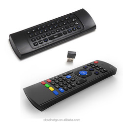 In stock Multifunction 2.4G Air Mouse with Wireless QWERT Keyboard Infrared Remote Control & Audio Chat use for android tv box