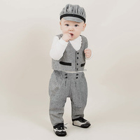 Four pieces sets Solid color Jacket +Long sleeve shirt + Cap+ pants) Baby Boys Kids Clothing Suppliers China
