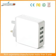 2015 Multi-Purpose 4 USB Port Traveling/Wall Power Charger--5V/5.1A Output(Black&White)