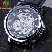 Automatic Skeleton Watch 2015 Fashion Steel Winner Mechanical Men's Watch Relojes