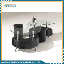 modern s shape glass coffee table with stool