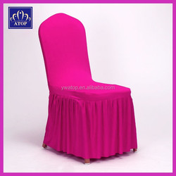 High Quality Hot Pink Bottom Ruffled Spandex Chair Cover Stretch Skirting Chair Cover