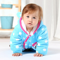 Climbing Clothes Hoodie Thick Winter Quilted Cotton Press Button Jumpsuit animal suits baby romper Custom
