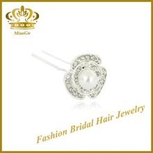 U-shaped Pearl & Rhinestone Crystal Flower Korean Hair Pin