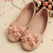 2015 Hotest Kids Shoes Princess Pearls Pink Ribbon Bow Shoes
