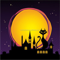 Halloween Night Cat and house wall decal stickers for home decoration
