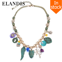 E-ELANDIS //Ancient bronze small pendant link necklace//chain gold with pendant owl jewelry zinc alloy jewelry summer 2015