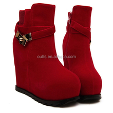 Factory price waterproof women wedge heel ankle boots wedges black fashion young ladies casual ankle boots PQ3275