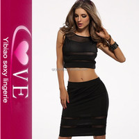 latest dress designs summer fashion 2 pieces black mesh cover dresses for women