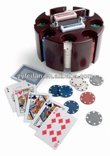 200 pcs poker chip set, round wooden tray,chips can be customed