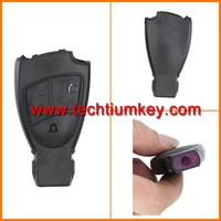 wholesale price for smart key cover of Plastic for mercedes Benz w210 3 button smart key cover fob with metal logo