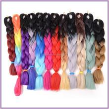 New Arrival Rainbow Color Hair Braiding Ombre Synthetic Kanekalon Jumbo Braid Hair Extension/Ombre Braid