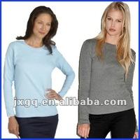 Factory direct price wholesale 100% cotton plain women long sleeve t shirt