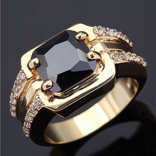 Two rows rhinestones exquisite square zircon sapphire gold female ring
