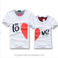 men women fashion couple t shirt tops for 2014 new lovers summer heart shape cotton casual clothes