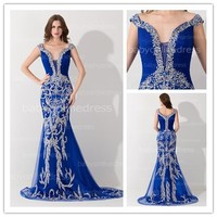 2015 Real Picture High Quality Royal Blue Cap Sleeve Beaded Rhinestone Expensive Sexy Mermaid Gown Evening Dresses From Dubai