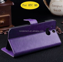 Ultra-thin flip leather phone case for HTC ONE M8 screen protect cover case