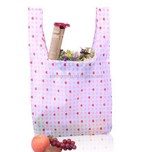 Factory OEM Durable Small Heart Printing Polyester Foldable Shopping Bag
