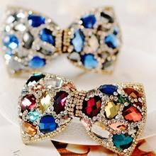 Fashion bow swarovski crystal hair barrettes for women