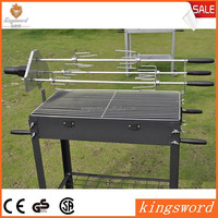 Square Charcoal BBQ Grill with Electric Motor Grill