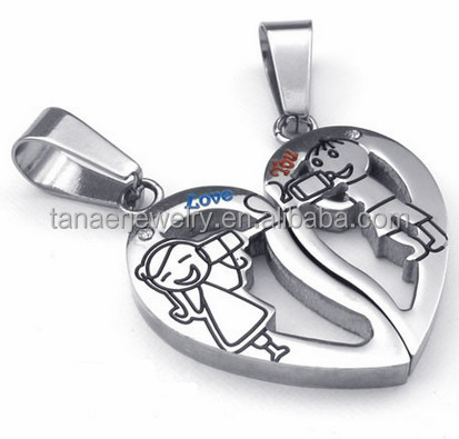 2 half heart necklacehalf heart necklace for couplesbroken heart pendant 144g aloadofball Images