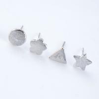 Trendy mini different shaped matte earrings wholesale silver jewelry