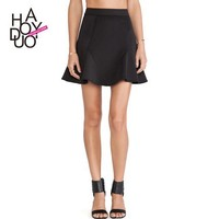 2015 Fashion 3D Cutting Women Black Mini A-Line Skirts for Wholesale Haoduoyi