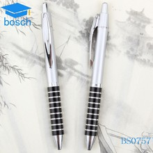 Silver color plastic custom pens with black stripe